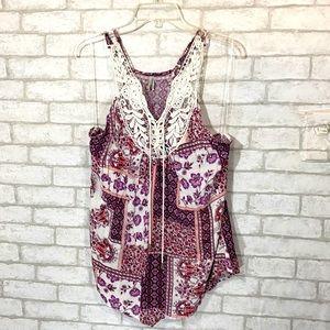 Vanity paisley print sleeveless lace up top XL